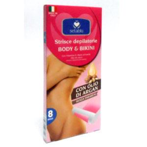 8 Strisce Depilatorie Body e Bikini SETABLU con olio di argan