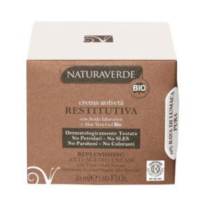 NATURAVERDE BIO Crema Viso Antietà Restitutiva con Acido Ialuronico e Aloe Vera Gel Bio 50ml