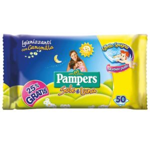 50 Salviettine Igienizzanti PAMPERS SOLE E LUNA con camomilla
