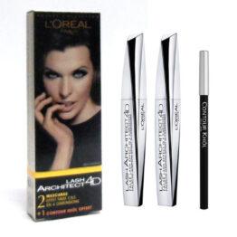 Kit L'OREAL LASH ARCHITECT 4D 2 mascara + 1 matita contour khol