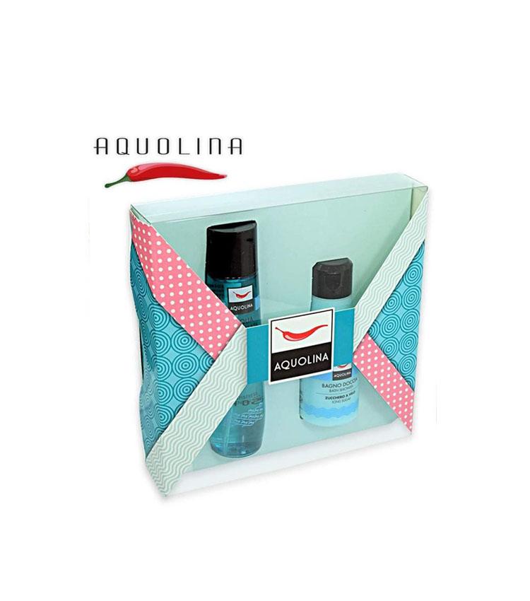 Cofanetto donna AQUOLINA Zucchero a Velo bagno doccia 125ml + acqua profumata corpo 150ml