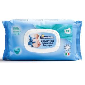 64 Salviettine Igieniche Imbevute baby ASSORBELLO