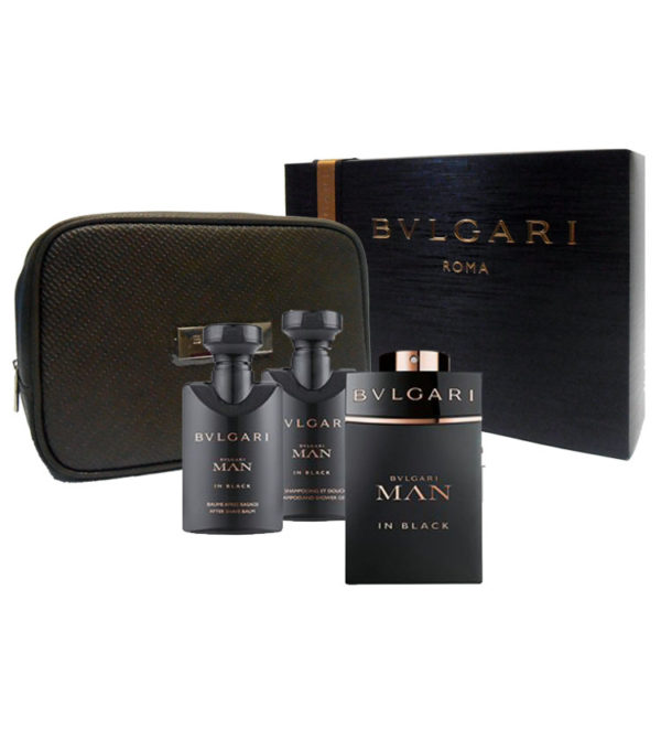 Cofanetto uomo BULGARI MAN IN BLACK edp 100ml + after shave balm 75ml + shampoo and shower gel 75ml + beauty