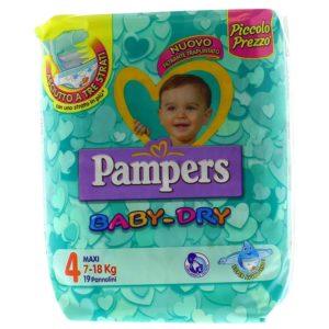 19 Pannolini PAMPERS BABY DRY Pannolini Bambini taglia 4 Maxi 7-18 kg