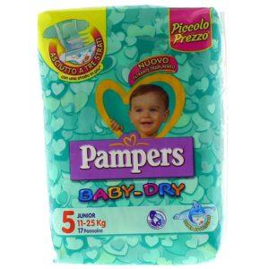 17 Pannolini PAMPERS BABY DRY Pannolini Bambini taglia 5 Junior 11-25 kg