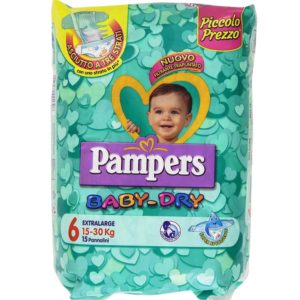 15 Pannolini PAMPERS BABY DRY Pannolini Bambini taglia 6 Extralarge 15-30 kg
