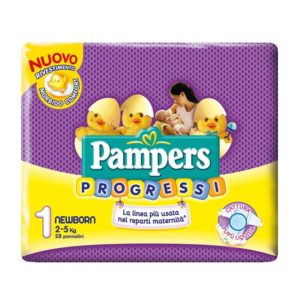 28 Pannolini PAMPERS PROGRESSI Pannolini Bambini taglia 1 Newborn 2-5 kg