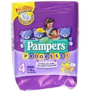 24 Pannolini PAMPERS PROGRESSI Pannolini Bambini taglia 4 Maxi 7-18 kg