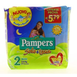 21 Pannolini PAMPERS SOLE E LUNA Pannolini Bambini taglia 2 Mini 3-6 kg