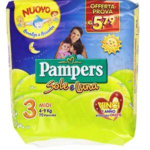 20 Pannolini PAMPERS SOLE E LUNA Pannolini Bambini taglia 3 Midi 4-9 kg