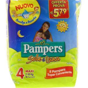 18 Pannolini PAMPERS SOLE E LUNA Pannolini Bambini taglia 4 Maxi 7-18 kg