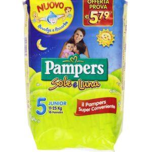 16 Pannolini PAMPERS SOLE E LUNA Pannolini Bambini taglia 5 Junior 11-25 kg