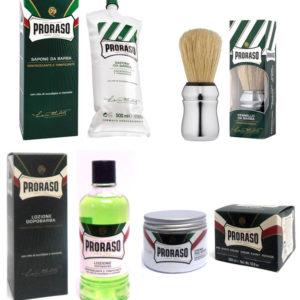Kit PRORASO Sapone 500ml + Pennello + Lozione Dopobarba 400ml + Crema Pre Barba 300ml