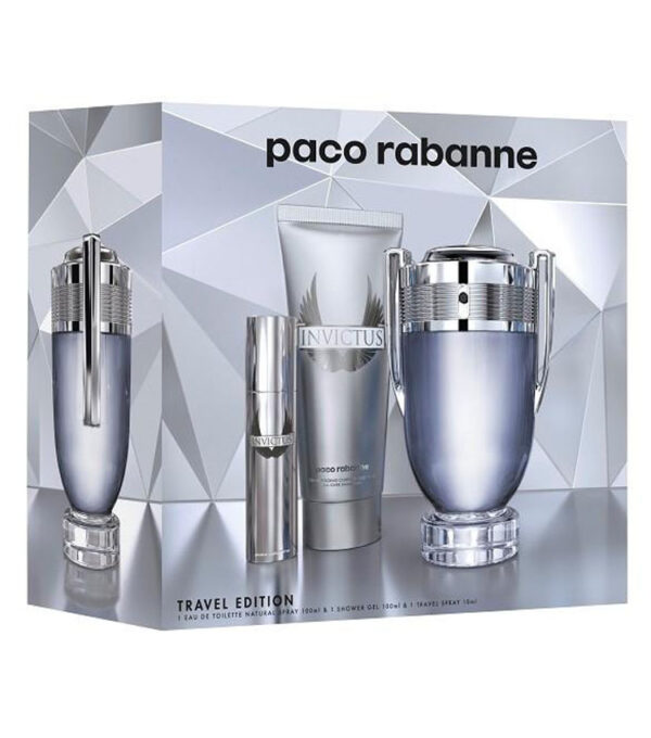 Cofanetto uomo INVICTUS PACO RABANNE edt 100ml + shower gel 100ml + travel spray 10ml