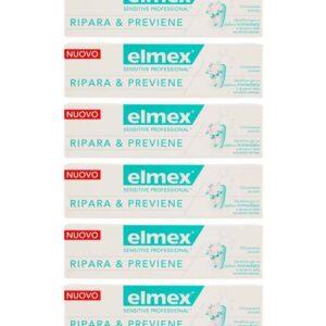 Stock 6pz ELMEX SENSITIVE PROFESSIONAL RIPARA E PREVIENE Dentifricio denti 75ml