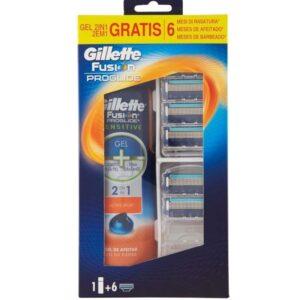 Kit GILLETTE FUSION PROGLIDE Gel da Barba 170ml + 6 lame di ricambio